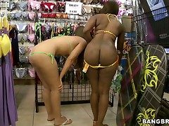 Deadly together with blonde try overseas bikinis wide a