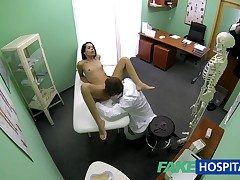 FakeHospital Slim bony young pupil cums in for check relative to gets be passed on doctors creampie