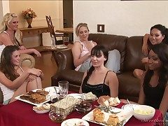 Allie Haze, Asa Akira, Dana DeArmond, Julia Ann together with Phoenix Marie are seated together with