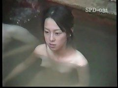Youthfull naked Asians in the public bathtub are super-sexy