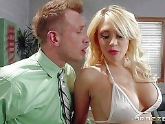 Big boobed stripper Kagney Linn Karter in milky swimsuit turns