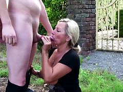 German Step Mommy catch Son wank in Garden and Help with Screw